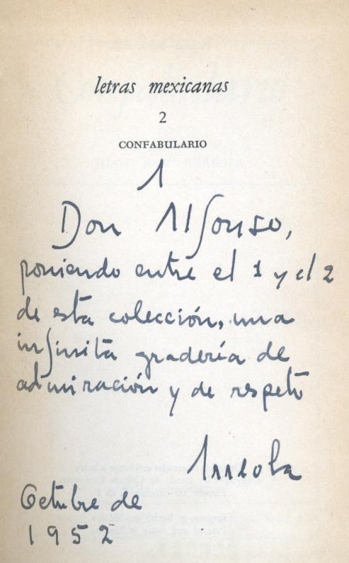 Dedicatoria de J. J. Arreola